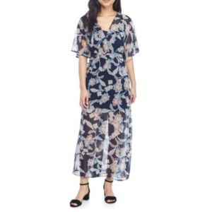 Love, Fire Navy Paisley Floral Print Maxi Dress L